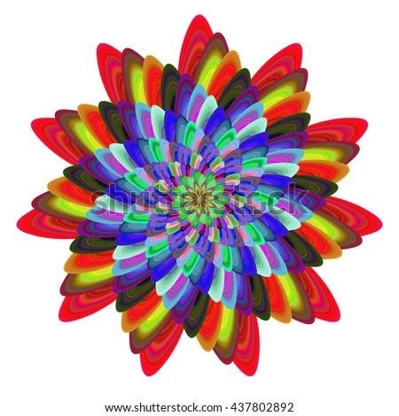 Colorful computer generated spiral fractal flower design - stock vector
