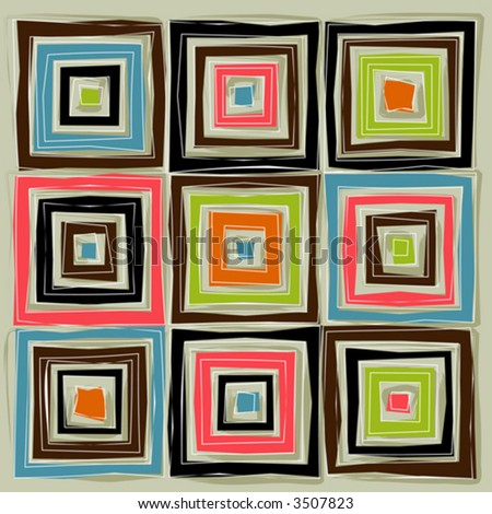 Colorful Concentric Squares; very loose and sketchy with a retro appeal. Easy-edit layered vector files. - stock vector