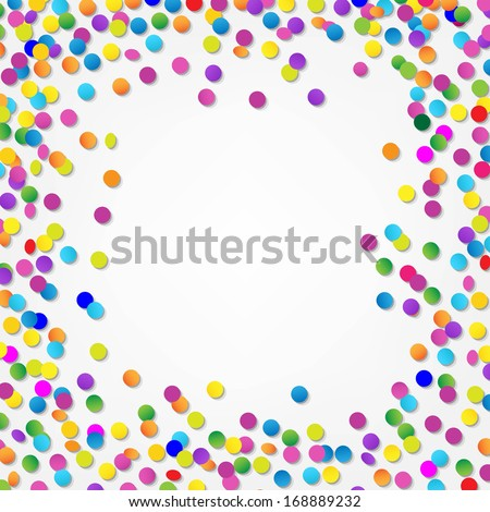 Colorful Confetti Border, With Gradient Mesh, Vector Illustration - stock vector