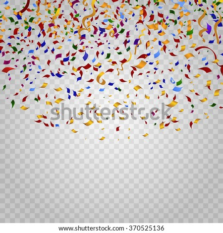 Colorful confetti on checkered background. Party and holiday, birthday carnival, decoration for celebration, festive event, design ribbon. Vector illustration template - stock vector