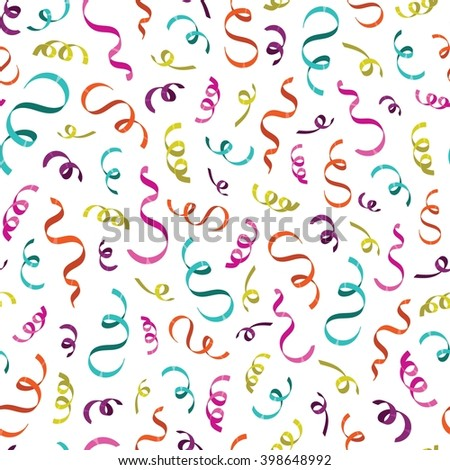 Colorful confetti seamless pattern on white background. Vector illustration - stock vector