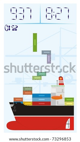 Colorful container ship cartoon with containers stowed in awkward angles like in a computer game - color vector cartoon illustration