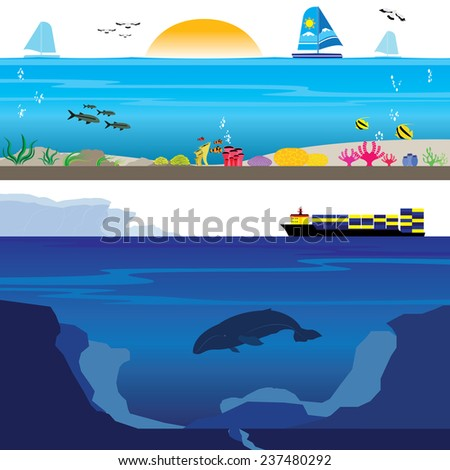 Colorful Coral Reef and Deep Undersea Landscape - stock vector