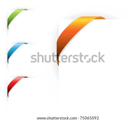 colorful corner ribbons without text - stock vector