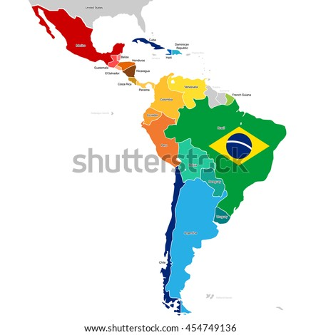 Colorful Countries of Latin America. Simplified vector map with all countries in different colors. - stock vector