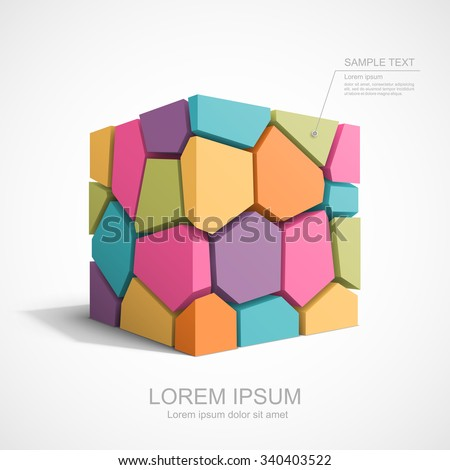 Colorful cracked cube. Easy to change color for each piece. - stock vector