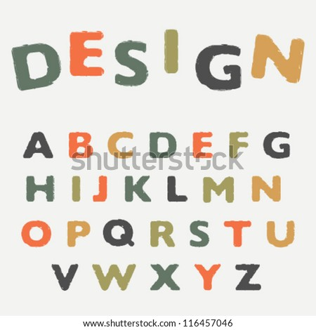 colorful cracked font - stock vector