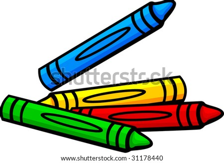 colorful crayons - stock vector