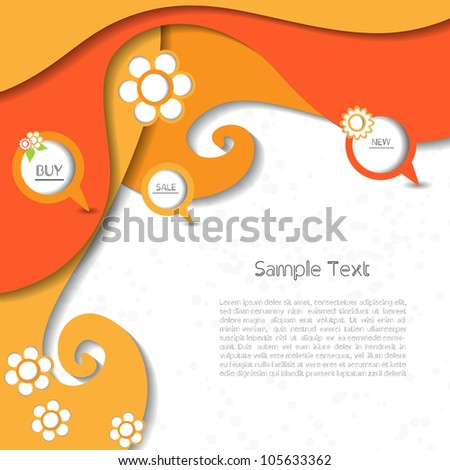 Colorful creative abstract business modern 3d vector speech bubbles with flower pattern - stock vector