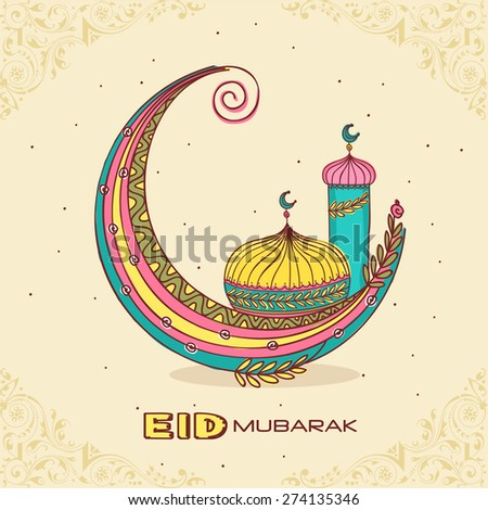 Colorful creative crescent moon with islamic mosque or masjid for muslim community festival, Eid Mubarak celebration. - stock vector