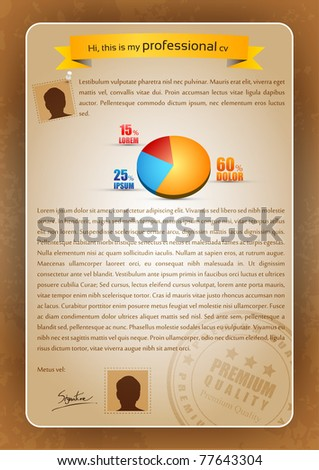 Colorful Creative CV Writing with 3D Pie Chart and Postmark - Editable Vector Illustration - stock vector