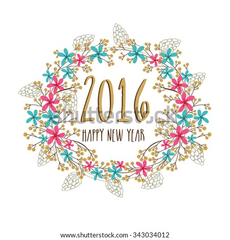 Colorful creative flowers and leaves decorated greeting card design for Happy New Year 2016 celebration. - stock vector