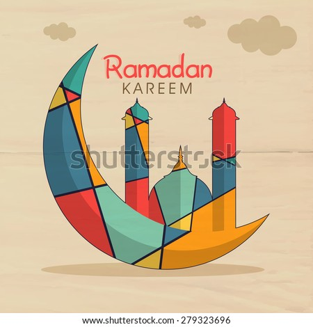 Colorful creative mosque on crescent moon for holy month of muslim community, Ramadan Kareem celebration on vintage background. - stock vector