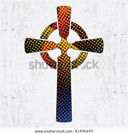 Colorful cross on grunge background - stock vector