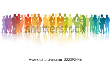 Colorful crowd of standing businesspeople over the white background