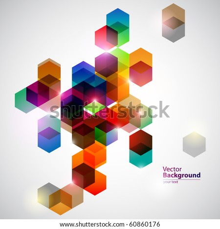 Colorful cubes. - stock vector