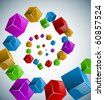 Colorful cubes spiral vector background. - stock vector