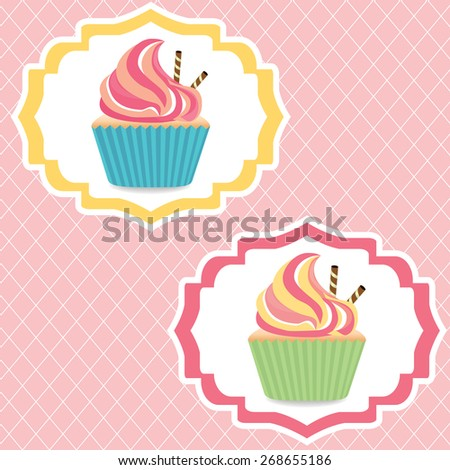 Colorful cupcake's invitation card eps10 vector illustration - stock vector