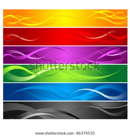 Colorful Curvy Striped Line Banners - stock vector