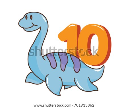 Colorful Cute Baby Plesiosaurus Number Suitable Stock Vector ...
