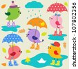 Colorful cute birds .Autumn vector set - stock vector