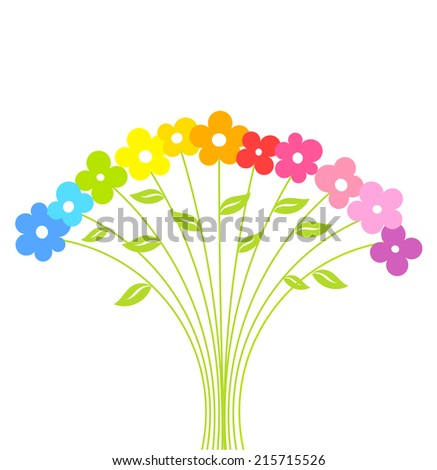 Colorful cute bouquet of flowers . Vector illustration - stock vector