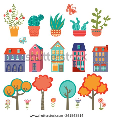 Colorful cute city collection - plants, houses and trees. Vector illustration - stock vector