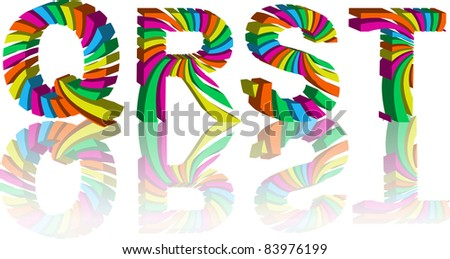 colorful 3d alphabet - stock vector