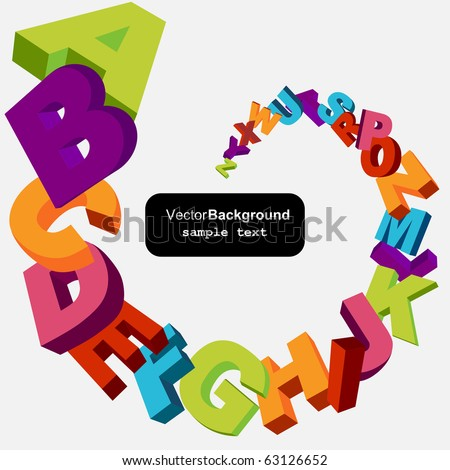 colorful 3d alphabet letters vector background - stock vector