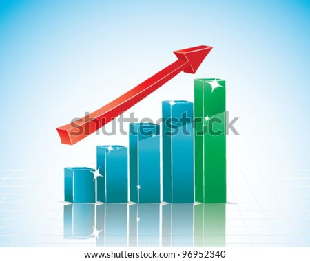 Colorful 3d bar graph - stock vector