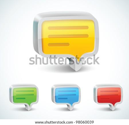 Colorful 3d bubble speech icon - stock vector