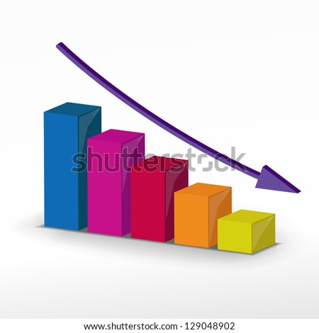 Colorful 3D business decline graph - stock vector