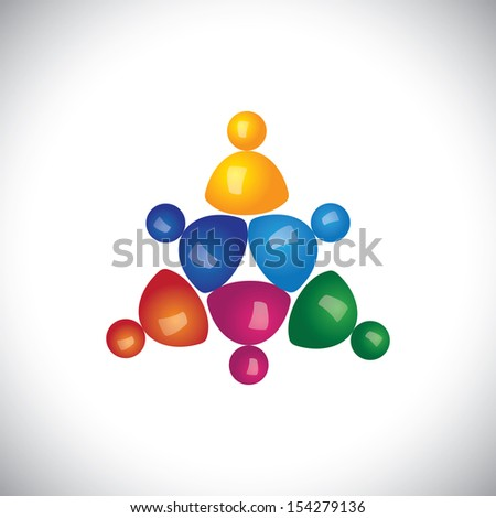 colorful 3d children or kids playing icons or signs - vector graphic. This illustration can also represent employee meetings, diversity & unity, kids play-home, kindergarten nursery school, etc
