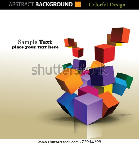 Colorful 3D Cubes - stock vector