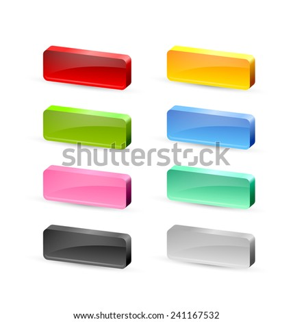 Colorful 3d glossy buttons placed on white background - stock vector