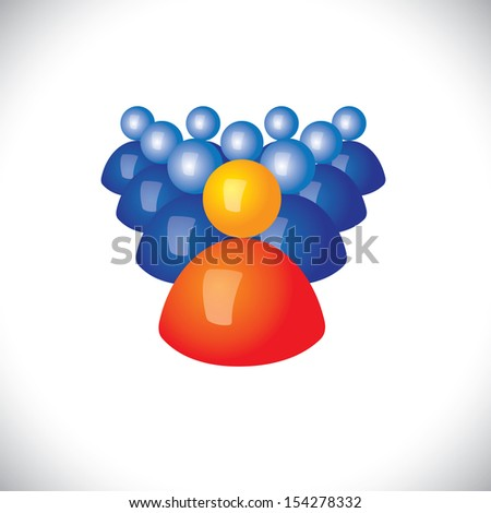 colorful 3d icons or signs of army of soldiers & commander - vector graphic. This illustration also represents sports captain and players, winner and losers, political leader & followers, gang, troop - stock vector