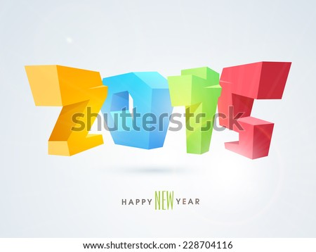 Colorful 3D numbers 2015 with Happy New Year text on grey background.