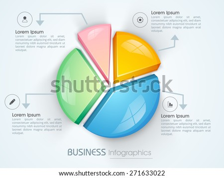 Colorful 3D pie chart infographic for your business reports and financial growth presentation.  - stock vector