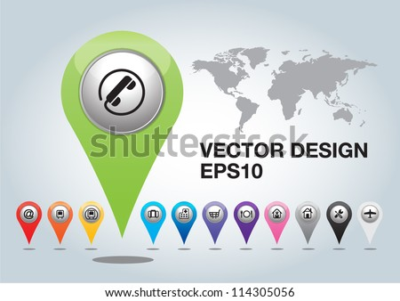 colorful 3d  Pointers on white background - stock vector