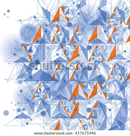 Colorful 3d spatial lattice covering, complicated op art background with geometric shapes, eps10. Science and technology theme. Abstract network, lace backdrop. - stock vector