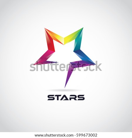 M Rank Colorful 3d Star Logo With