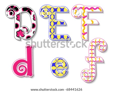 Colorful 3D Swirl DEF Letters with custom patterns (swatches) included. to mix  and match or color to your specific needs. eps 10 - stock vector
