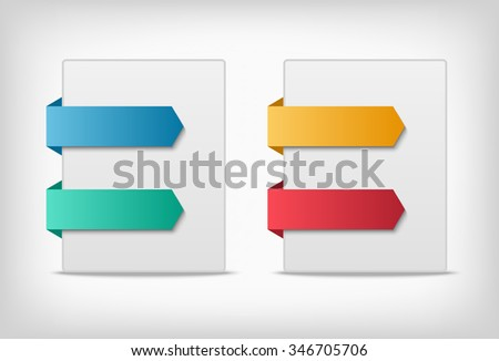 Colorful 3d tabs background. Labels or stickers indications on the edge of a page. - stock vector