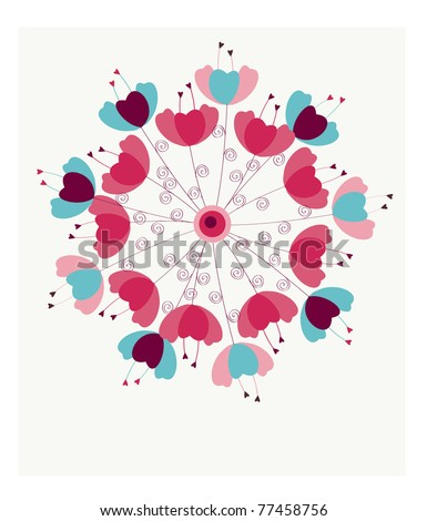 Colorful dandelion flower design template card - stock vector