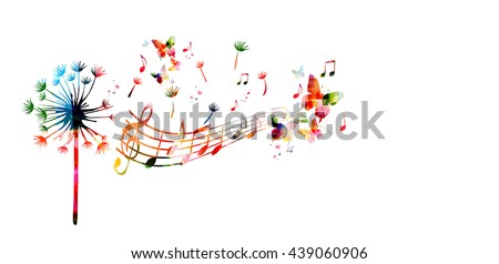 Colorful dandelion with music notes and butterflies - stock vector
