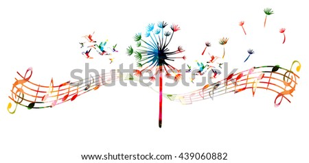 Colorful dandelion with music notes and hummingbirds