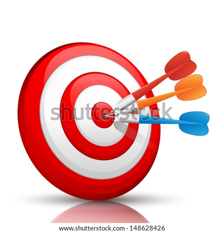 colorful darts hitting a target  - stock vector
