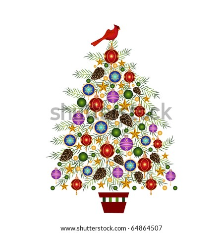 colorful decorated christmas tree (use with or without  bird on top) - stock vector