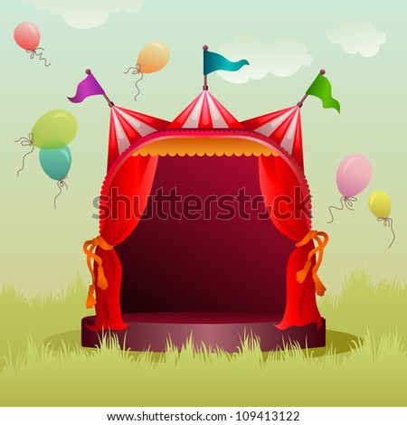 colorful, decorated circus tent on a meadow with balloons - stock vector