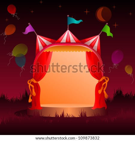 colorful, decorated circus tent on a meadow with balloons at night - stock vector